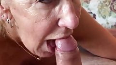 Granny gives blowjob and swallows