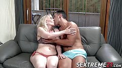 Pretty granny Nanney mouth filled with cum from young cock