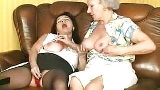 Granny Norma and Granny Mathilda having fun with 2 Guys
