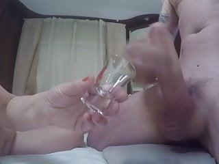 Shot his cum load Shooting hot cum load in a shot glass