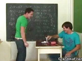 Lesbian teacher abuses her pupil video Two pupils bang lustful mature teacher