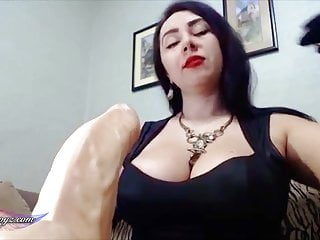 Red lipstick brunette pornstars Busty brunette blowjob sex toy and smoking with red lipstick