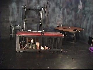 Strip for spanking - Three lesbians in torture chamber strip and one bends over for spanking