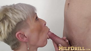 Short haired mature Kathy White sucks and rides stud's dick