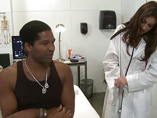Vagina examination video Sexy brunette doctor sucks black cock on an examination bed