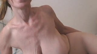 Saggy Boobed GILF With Pantyhose in Bed