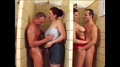 Stefany and Michelle in men's shower orgy, upscaled to 60fps 4K