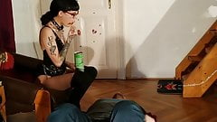 Domina spitfeeding her slave pt1 HD
