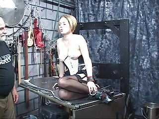 Darian caine bondage auditions Blond puma restrained and cained on a bondage table