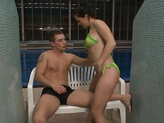 Beach get naked pool swim Brunette with natural tits gets nailed in an indoor swimming pool