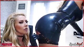 British Milfs Lynda and Lucy enjoy dildo pussy fuck in latex