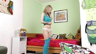 Petite virgin blonde Gwyneth Petrova masturbates