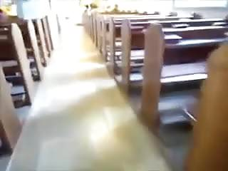 Church tits - Big titted babe masturbating in church