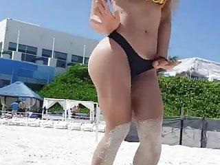 Beach bikini girl in picture Girl in bikini on a beach