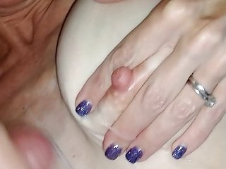Her breast cancer - Lady j gets cum on her breast