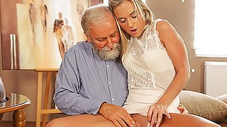 OLD4K. Enticing blonde easily seduces  old geography teacher
