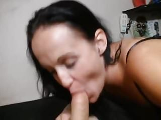 Sucking cock with panties in mouth Sucking cock with cum in mouth and throat
