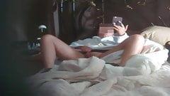 Hidden Cam wife masturbating in bed