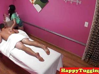 Mature cums during massage slutload - Asian masseuse tugging client during massage