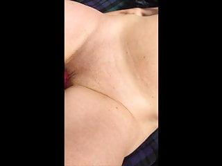 Boyfriend loves my pussy - Boyfriend toys my pussy outside while stranger wanks