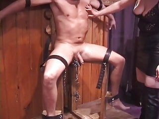 Sex shock feels Guy in bondage gets shocked by horny chicks