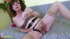 OldNannY Great Mature Hairy Pussy Toy Masturbation