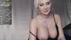 Blonde with tight tits jerks off on camera