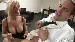 Her boss needs a handjob to keep her employed