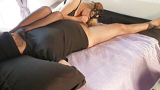 Feet to face and handjob with huge cumshot
