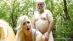 Lucky oldman sex in the forest