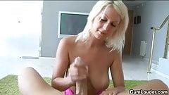 Blonde European Pamela Blond jerking off a hard Dick