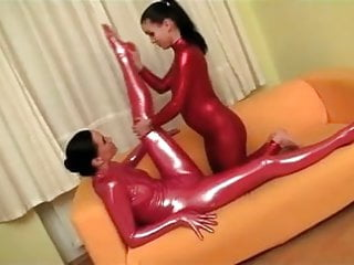 Flexible lesbian licking Flexible lesbian gymnasts finger and toy