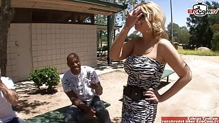 Blonde Milf with huge tits lets her husband watch