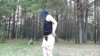 gaping pussy in the woods.