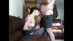 Submissive milf get deepthroat and cum in mouth