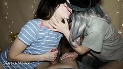 Amateur wife shared husband with stepsis - cum kissing