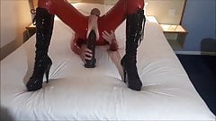 RachelSexyMaid 39 Red Latex Catsuit Monster