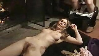 Hairy hippy MILF let 2 guys unload on her