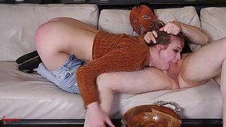 Deepthroating BDSM teen slut gags and drools