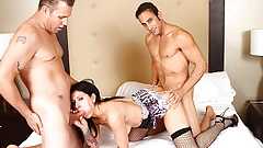 Naughty amateur brunette takes on five men at once