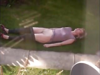 Naked amateur sunbathing Neighbour sunbathing voyeur.mp4