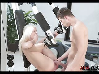 Blonde naked babes Getting anal in the gym