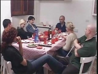 Thanksgiving dinner and adult family games After a pleasant family dinner
