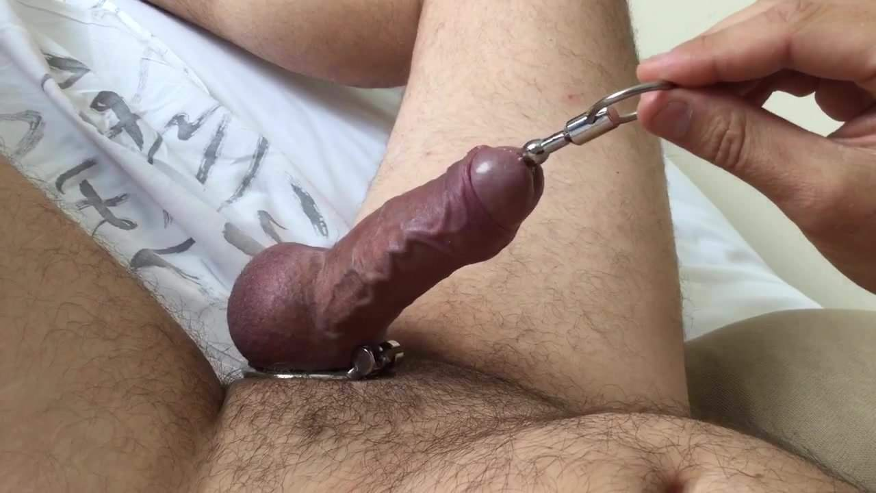 Slow handjob with latex gloves and urethral sounding