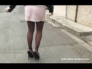 Peeing in public place - Flashing no panties in public place