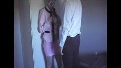 Skirt suit, satin blouse, panties, clothed cum on blouse