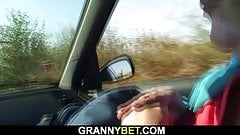 Hitchhiking blonde granny gets doggy-fucked roadside