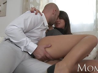 Old women hairy big tits - Mom sophisticated brunette with hairy pussy swallows