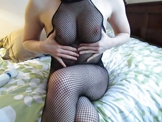 Womengiving herself an orgasm sex She fucks herself in body stocking