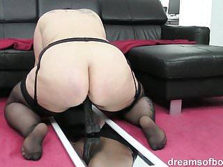 Ass dildo stockings - German bbw jill riding a huge black dildo